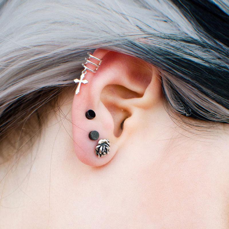 Tardoo Earrings for Women 925 Sterling Silver Cross Love shape punk Ear Cuffs Pendientes Fine Jewelry Joyeria plata 925 Vintage