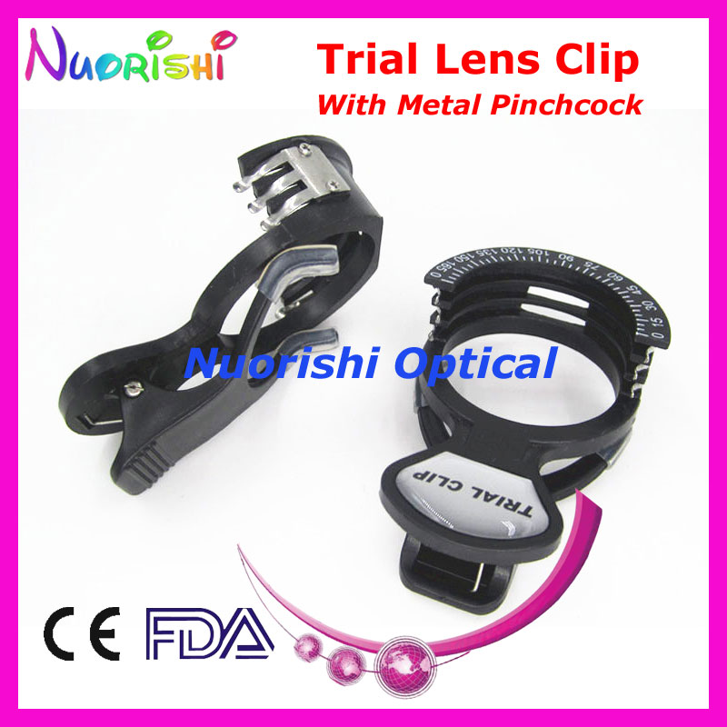 e01 002 optometry trial lens clip frame with metal pinchcock spring halberg clips lowest shipping