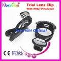 E01-002 optometría Trial lente marco de imagen con el Metal abrazadera primavera Halberg Clips costes de envío más bajos
