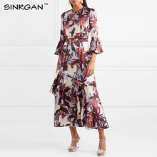 SINRGAN Women Dress 2019 Fashion Spring summer Vintage Butterfly Sleeve Dress O-Neck Irregular Patchwork Mid-Calf Party Dresses(China)