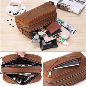 Image 5 - Trousse de toilette en cuir véritable vintage en cuir véritable pour hommes, sac de maquillage de voyage, sac de toilette à main