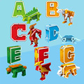 26 английская буква трансформация Алфавит динозавр Робот животное Обучающие фигурки строительный блок модель детские игрушки подарок