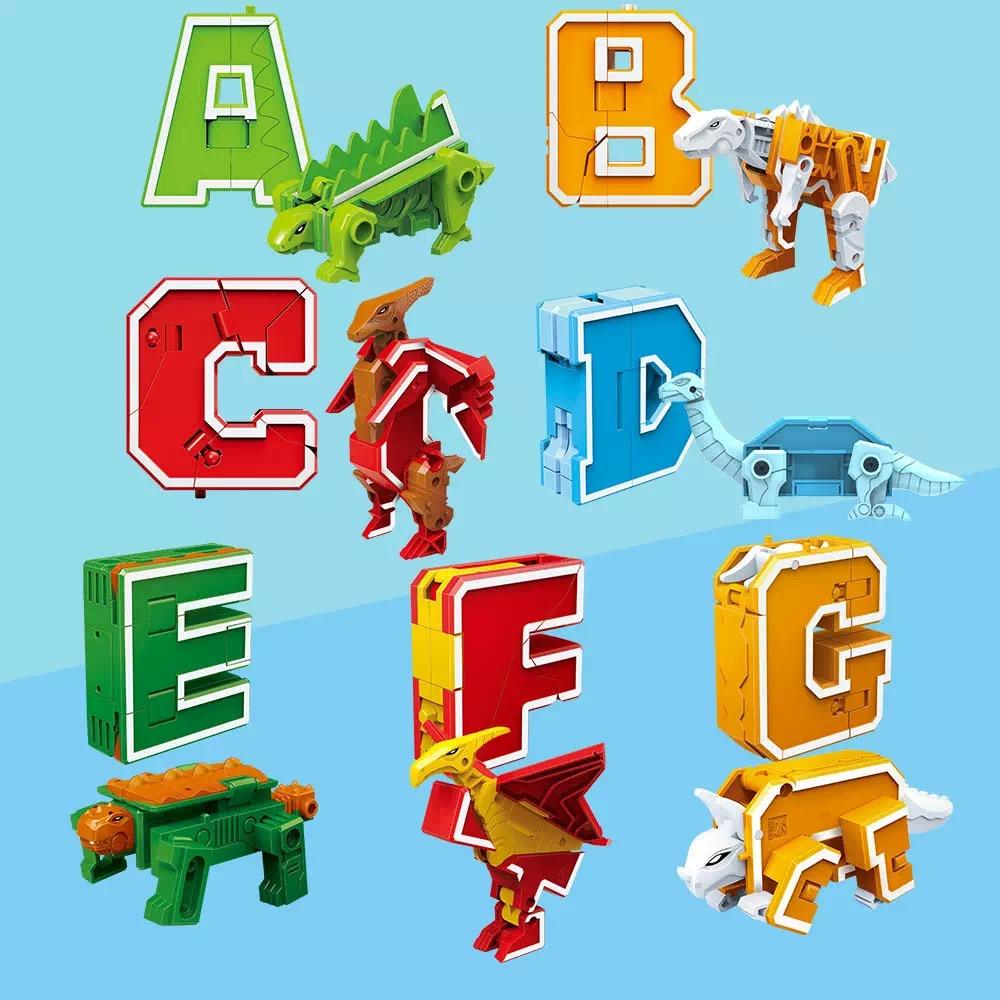 26 English letter Transformation Alphabet  Dinosaur Robot Animal Educational Action Figures Building Block Model Kids Toys gift-in Blocks from Toys & Hobbies    1