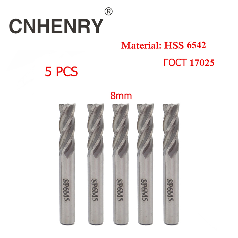 5pcs 4 Flutes HSS 6542 End Mill Diameter 8mm Router Bit Set Milling Cutter for Wood Cutters Mill CNC Drill Bits Diagnostic-tool new 3 flutes 8 8 15 69 7 7 25mm m2ai dia end mill router bit milling cutter machine cnc drill tool use for cutting aluminum