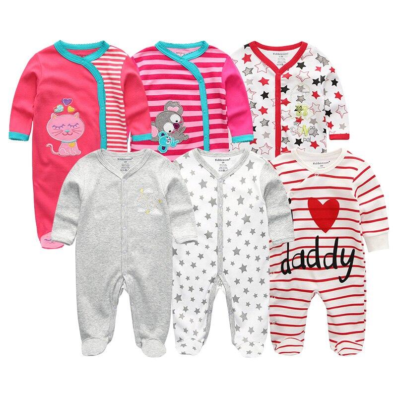 Noworodków Dziewczynek i Chłopców Pajacyki 6 Sztuk / partia - Odzież dla niemowląt - Zdjęcie 3