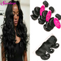 7A Unprocessed Malaysian Virgin Hair With Closure 13*4 Pre Plucked Frontal With Bundles 3pcs Malaysian Loose Wave With Closure