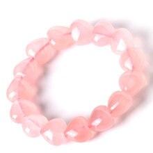 Натуральный розовый браслет с кристаллом в форме сердца