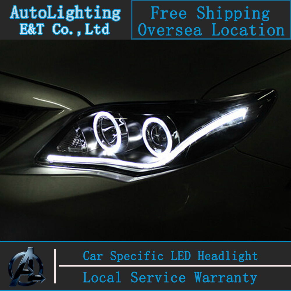 Car styling LED Head Lamp for Toyota Corolla led headlights 2011 Altis angel eye led drl H7 hid Bi-Xenon Lens low beam