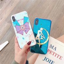 Kawaii anime Sailor Moon phone case for iPhone 8 6 s 7 plus xr xs max x Rhinestone jewelry moon Blu-ray silicone soft cover i10