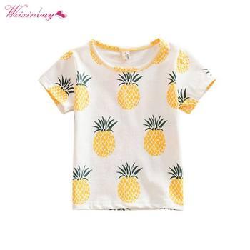 WEIXINBUY Fashion Baby Children Girls Kids T shirt Cotton Pineapple Print One-pieces Casual Dress T-Shirt Kids Clothes G28 conjuntos casuales para niñas