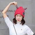 Korea Knitted Ox Horn Hats Sweet Girl Thermal Hat Top Fashion Female Thickening Skullies All Match Beanies Warm Hat 7Colors