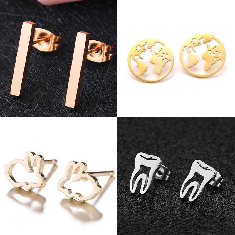Jisensp Stainless Steel Mickey Stud Earrings for Women Girls Everyday Jewelry Fashion World Map Earings Accesorios Mujer Gift