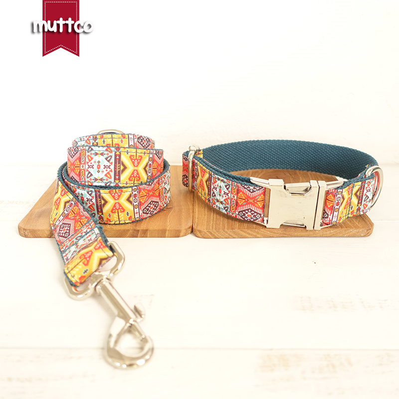 MUTTCO retailing self-design timeproof dog collar THE BOHEMIAN creative ethnic style dog collars and leashes set 5 sizes UDC050