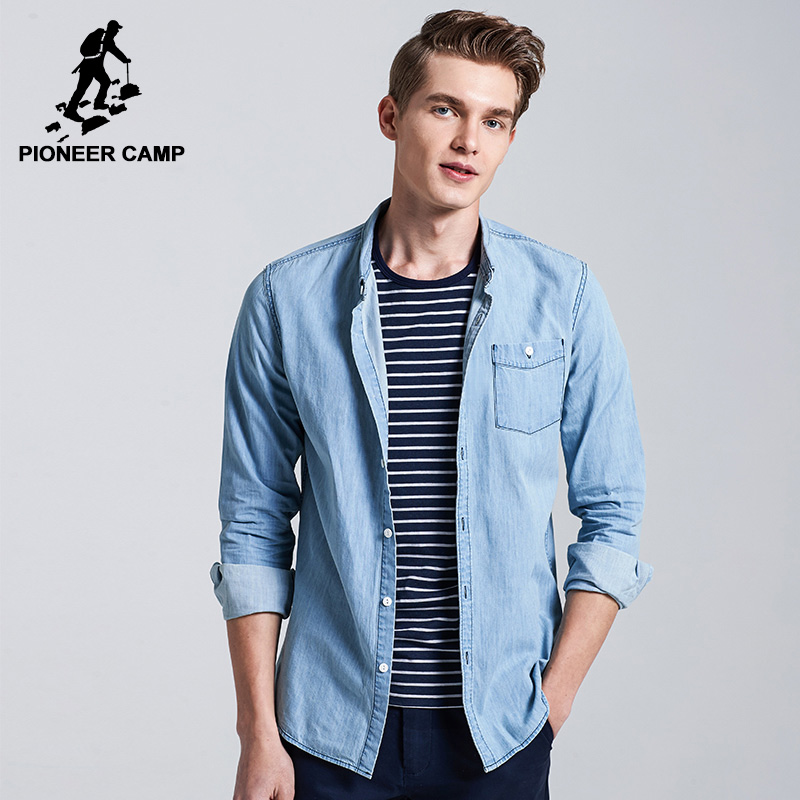 PioneerCamp Official Flagship Store Pioneer Camp New denim shirt men brand-clothing fashion casual shirt male top quality 100% cotton dress shirt for men ACC705092