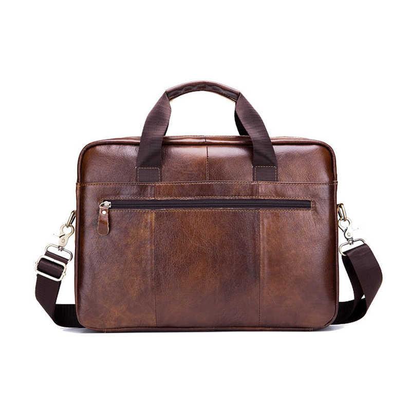 Maletín de cuero genuino para hombre, bolso de ordenador de negocios vintage, bolsos de mensajero de moda, bolso de hombro para hombre, bolsos para hombre