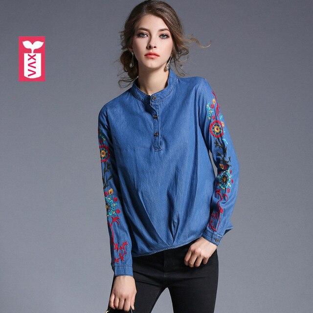 Top Coton Femmes Jeans Affaires Shirt Blouse Femme Denim Broderie Chemise À Manches  Longues Pulls T