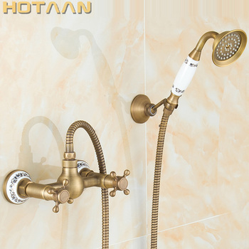 Free shipping Antique Brass Bathroom Bath Wall Mounted Hand Held Shower Head Kit Shower Faucet Sets YT-5345-B