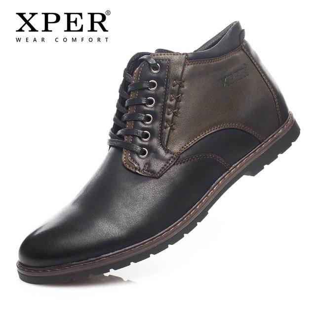 2018 xper бренд Мужские зимние сапоги Кружево на шнуровке короткие плюшевые ботильоны на зиму носить удобную High-Cut теплый # YM86902BR