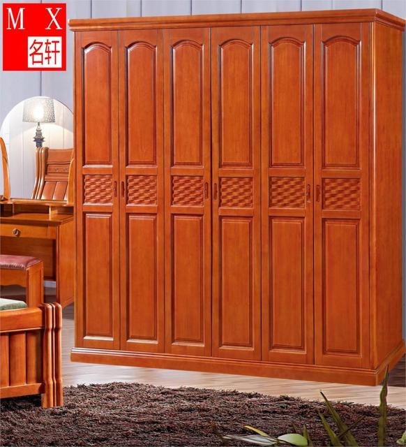 All Solid Wood Bedroom Furniture Oak Wardrobe Closet Wardrobe Combination  Child Sliding Door Wardrobe Specials