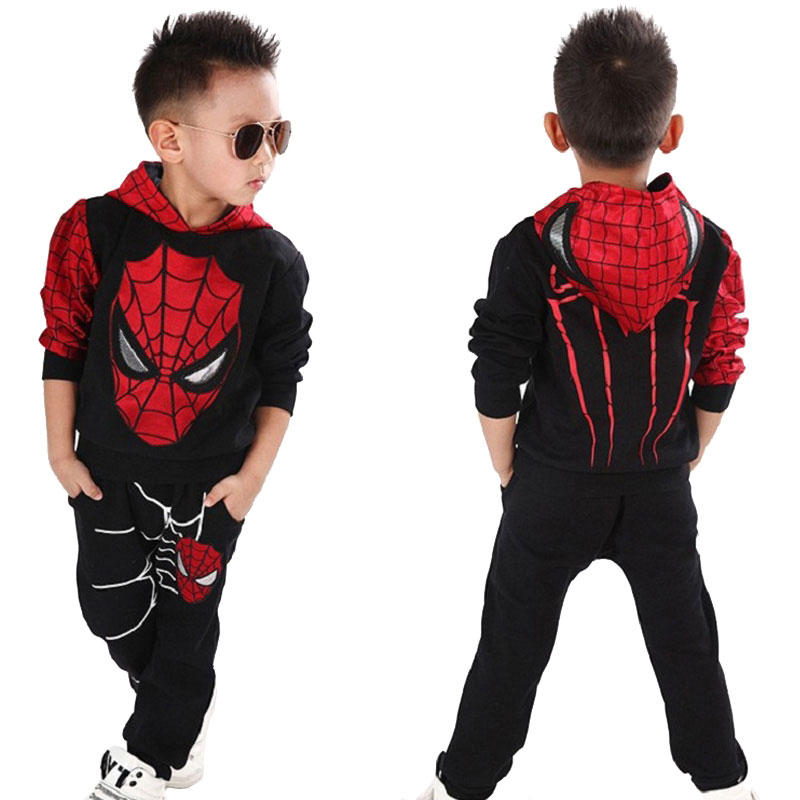 Novelty Kids Boys Clothing Sets Child Sports Suits Cartoon Cotton Long Sleeve Hooded Tops pants Tracksuit 2 pcs Clothes 2-6Years kindstraum 3pcs boys gentleman formal suits cotton long sleeve shirt vest denim pants toddler kids wedding clothing sets mc951