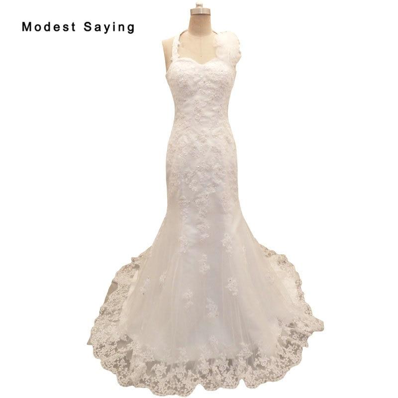 Sexy Ivory Mermaid Halter Flowers Wedding Dresses 2019 Formal Women Beaded Lace Bridal Gowns Custom Made Garden Vestido De Noiva