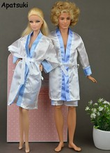 2pcs/set Clothes For Barbie Doll House Bedroom Pajamas Robe Nighty Bathrobe Robe & Shorts For Ken Male BJD Doll Child Kids Toy(China)