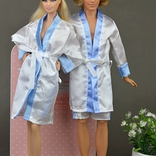 2pcs/set Clothes For Barbie Doll House Bedroom Pajamas Robe Nighty Bathrobe Robe & Shorts For Ken Male BJD Doll Child Kids Toy