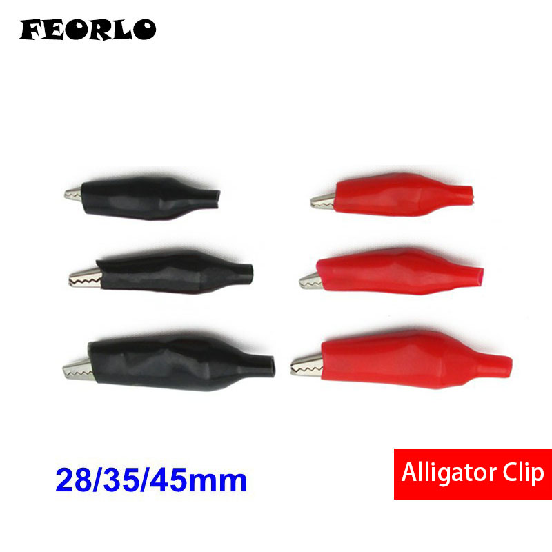 FEORLO 28MM 35mm 45mm Metal Alligator Clip Crocodile Electrical Clamp for Testing Probe Meter Black and