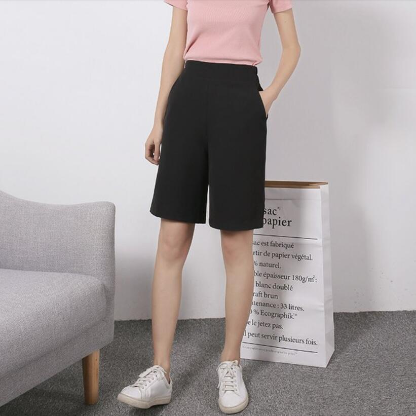 2019 Summer Women High Waist Knee Length   Pants   Female Elastic Waist Casual   Pants   Chiffon   Wide     Leg     Pants   Women LY331