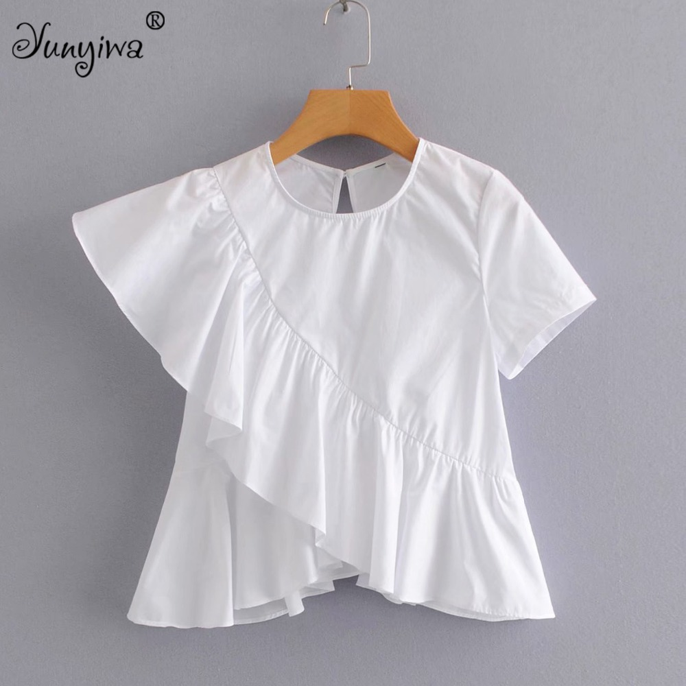 Yuuyiwa Women   Blouses     Shirts   Women's ruffled short-sleeved irregular   shirt     shirt   female Tops Blusas Mujer De
