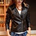2016 весна осень заклепки кожаная куртка женщин короткий пу мотоцикл молния кожаное пальто chaquetas де cuero mujer женский верхней одежды пальто