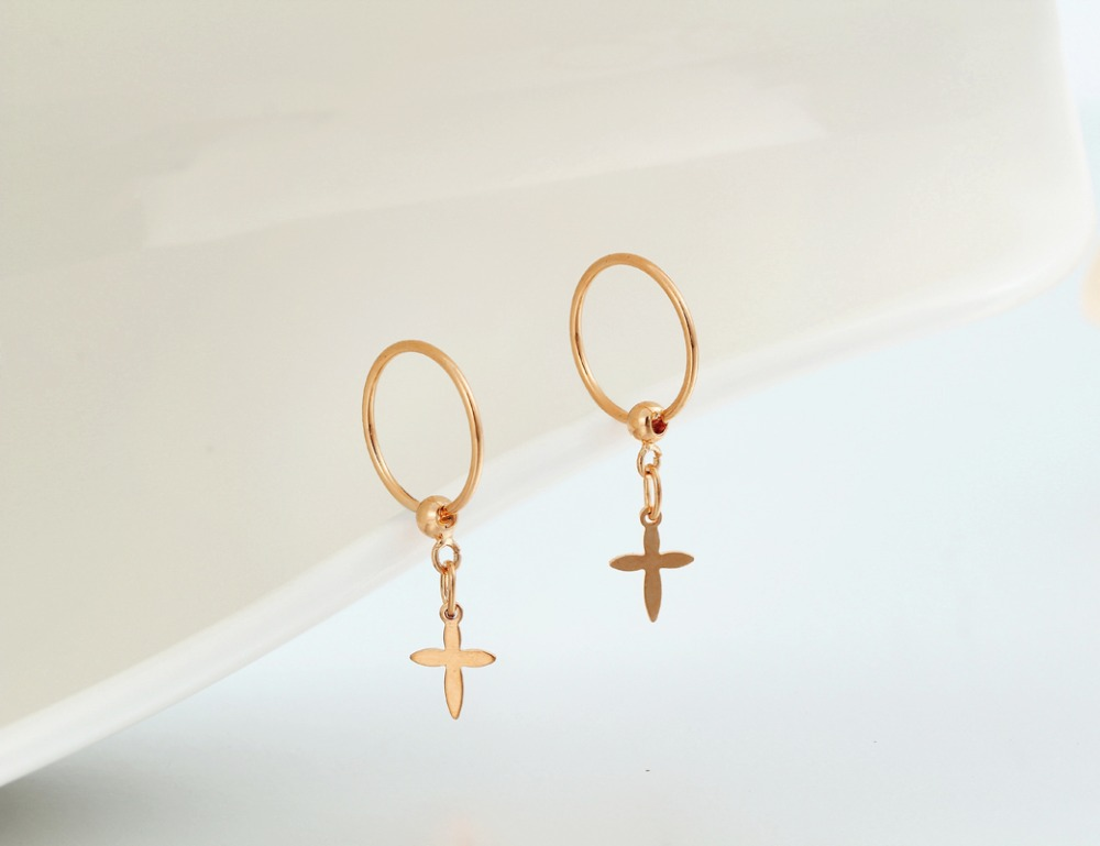 Gold Plated Cross Charms Circle Small Hoop Earrings For Women S Anti Allergic Percing Body Jewelry Children Baby Kids In From