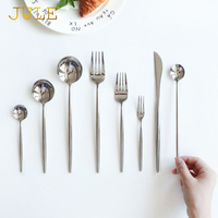 8 pieces Good Mirror Flatware Set 18/8 Stainless Steel Black Dining Knive Forks Scoop Cutlery Golden Restaurant Tableware Sets