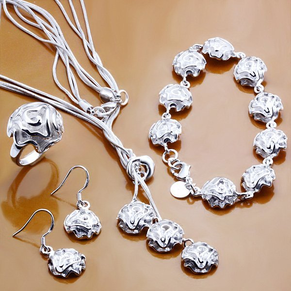 free shipping,wholesale hot sale sterling silver plated rose pandent necklace set