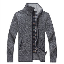 Men Sweaters Stand Collar Casual Solid Knitwear Winter Warm Clothing Thicken Zipper MenCardigan Sweater for male A3190