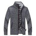 Homens Suéteres de Gola Sólida Casuais Malhas Inverno Roupas Quentes Engrossar Zipper A3190 MenCardigan Camisola para o sexo masculino