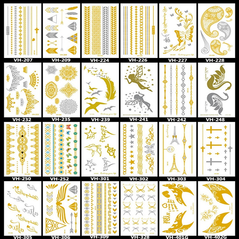 24 Different Small Size Gold And Silver Temporary Tattoos, Metallic Shiny Gold Flash Body Tattoo Sticker Butterfly Flower
