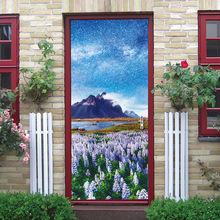 Starry Snow Mountain Lavender Creative Wall Door Stickers Bedroom Home Decoration Poster PVC Waterproof Sticker
