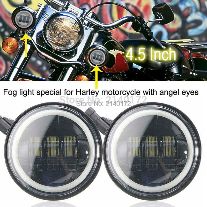 Pair 4.5inch led fog light 30W led Auxiliary Driving lamp headlight halo ring Fit most harley MotorcyclePair 4.5inch led fog light 30W led Auxiliary Driving lamp headlight halo ring Fit most harley Motorcycle