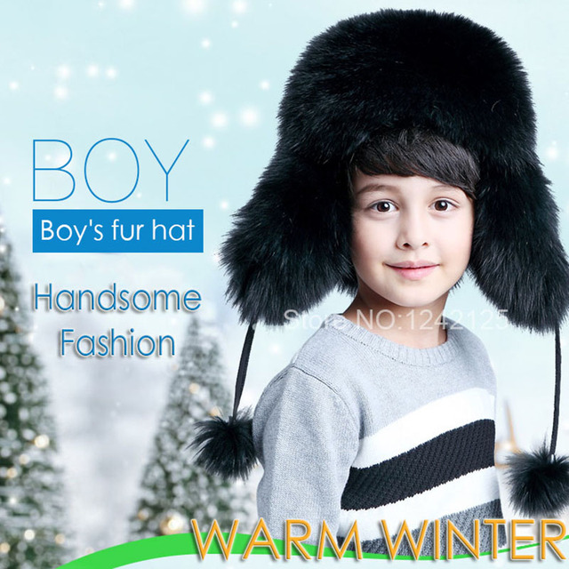 edf0d09faf1 Winter Russia fur hat Children Boy Girl men women big size Real Fox Fur Hat  Earmuff Warm Fur Hats raccoon Ear fox fur Hat caps