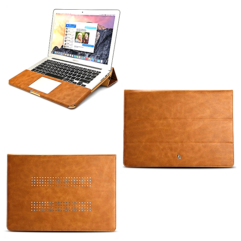 Premium PU Leather Sleeve Luxury Stand Cover Case with Magnetic Clip for MacBook Air / Pro / Retina 11 12 13 15 Leisure Bag