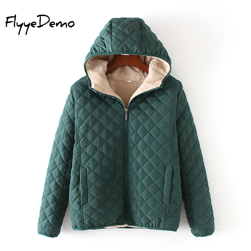 2019 Women Parkas   Basic     Jackets   Female Winter Warm Velvet Lamb hooded Coats Cotton Winter   Jacket   Womens Outwear Coat