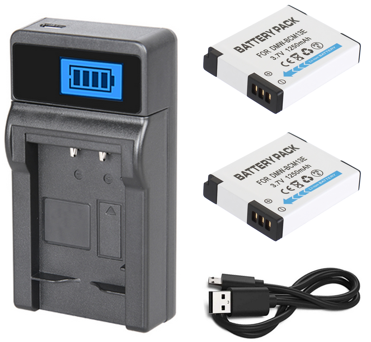 Battery (2-Pack) + Charger For Panasonic Lumix DMC-TZ40, DMC-TZ41, DMC-TZ60, DMC-TZ61, DMC-TZ70, DMC-TZ71 Digital Camera