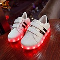 Monkids 2016 New Pattern Cool Luminous Led Shoes Kids Cute Boys Girls Shoes Colorful Lamp Kids Light Up Shoes Band Stripe