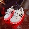 Monkids 2016 Nuevo Patrón Fresco Luminoso Led Zapatos Lindos de Los Niños niños Niñas Zapatos de La Lámpara Colorida Niños Encienden Zapatos Banda raya