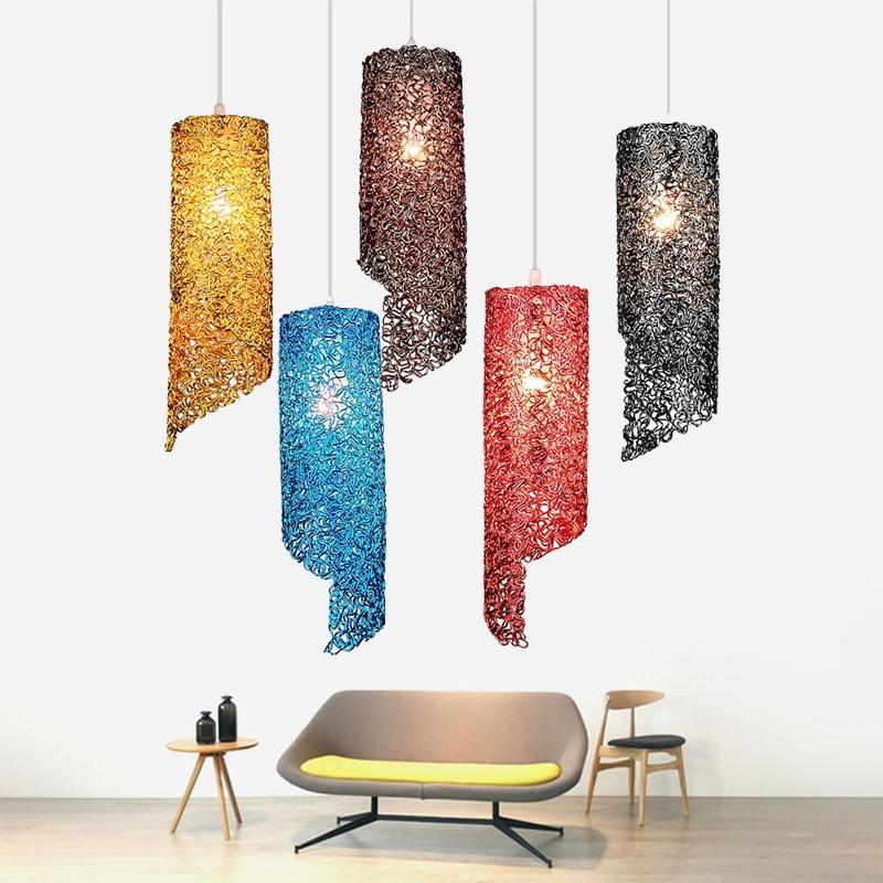 Modern creative color E27 LED Pendant Lamp personality aluminum Hang lamp Pendant Light Home Lighting Kitchen Fixtures