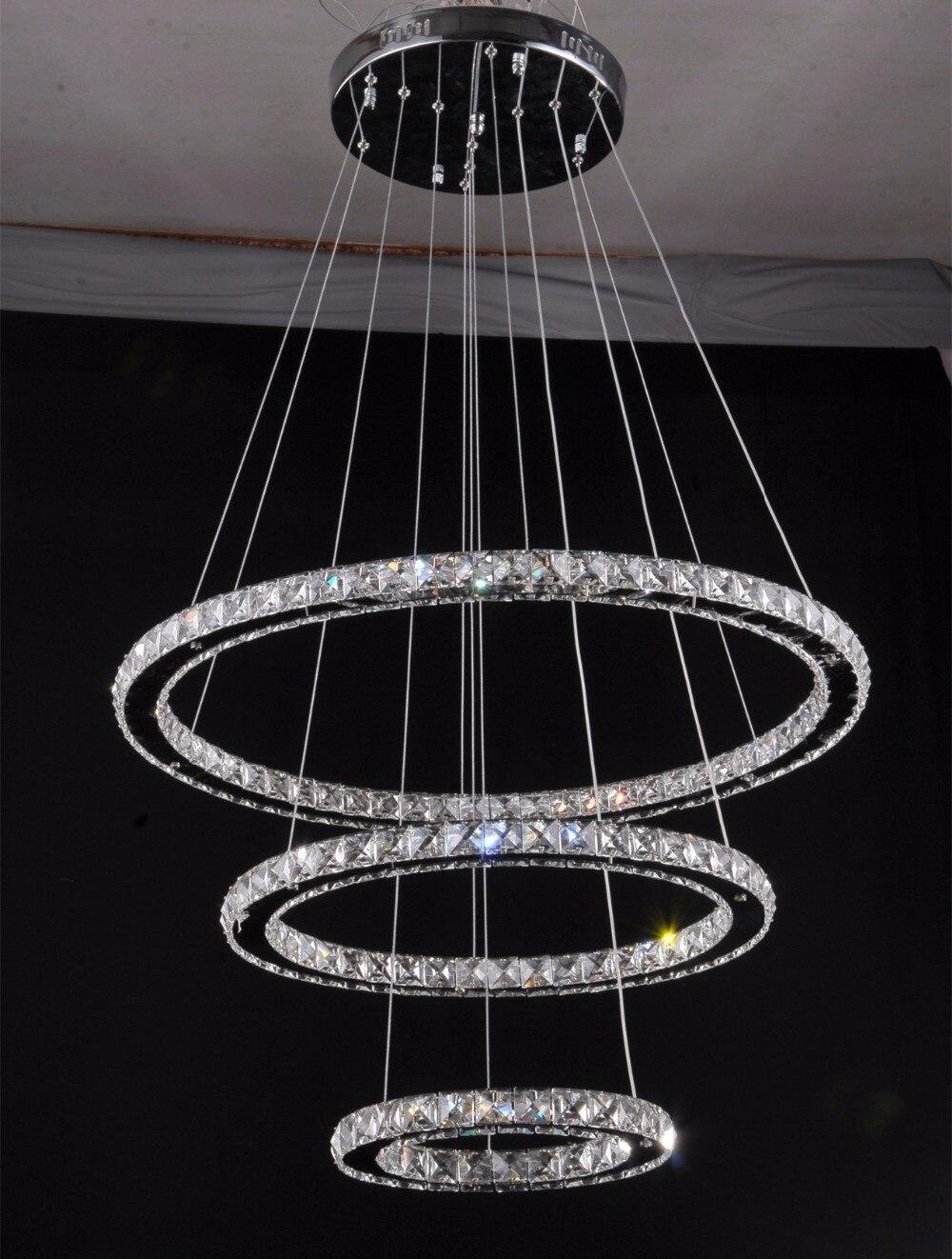 Modern rope light lustres led crystal pendant lamps light luxury modern 3 ring luxury chandelier hot sale led crystal chandelier light lustres de cristal circles ceiling lamp white light parisarafo Choice Image
