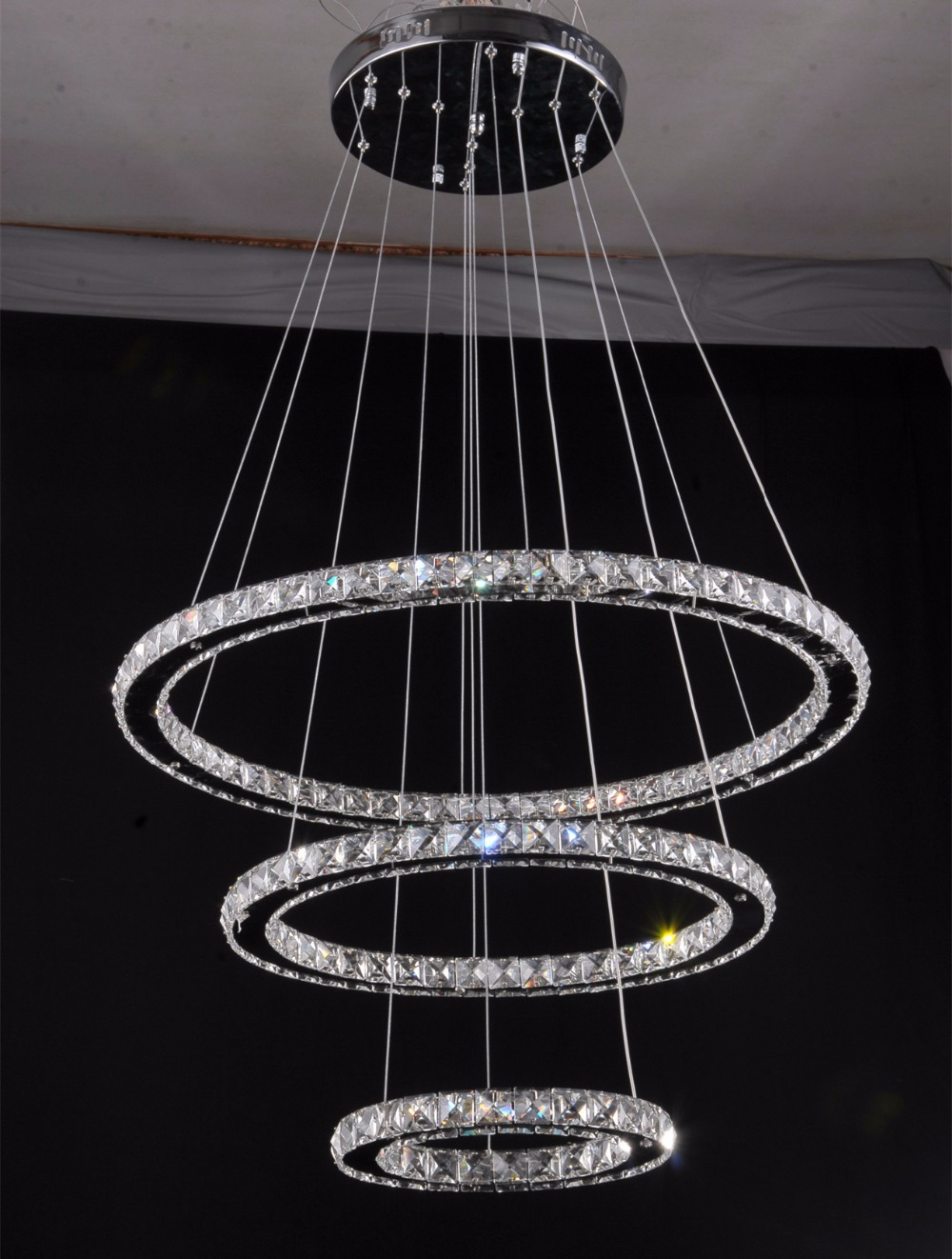 Modern Re Led Crystal 3 Ring Pendant Lights Diamond Light Fixture Suspension Lighting Circles Lamp In From