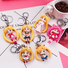 цены Sailor moon action figures Metal keychain PVC Japaness anime sailor moon tsukino mini figuarts party decoration toys for girls
