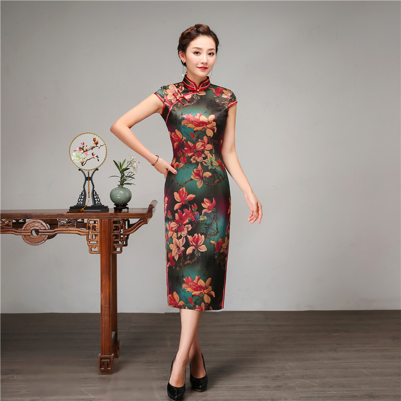 Royal Women Casual Daily Dress Chinese Style Print Flower Qipao 100% Silk Long Cheongsam Vintage Evening Party Dressing Gown - 3